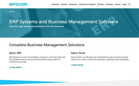 Screenshot of Products Page epicor.com - ERP and Business Management Solutions | Epicor India - captured Aug. 22, 2019