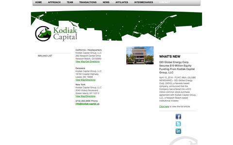 Screenshot of Contact Page kodiak-capital.us - Kodiak Capital Group,  LLC - Contact - captured Oct. 6, 2014