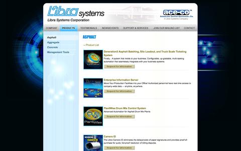 Screenshot of Products Page librasystems.com - Libra Systems - Asphalt - captured Oct. 2, 2014