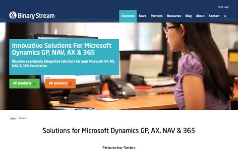 Screenshot of Products Page binarystream.com - Product Solutions for Microsoft Dynamics AX & GP - captured Oct. 5, 2018