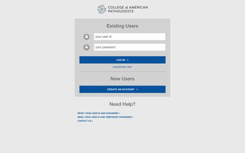 Screenshot of Login Page cap.org - Log In - College of American Pathologists - captured Dec. 9, 2019