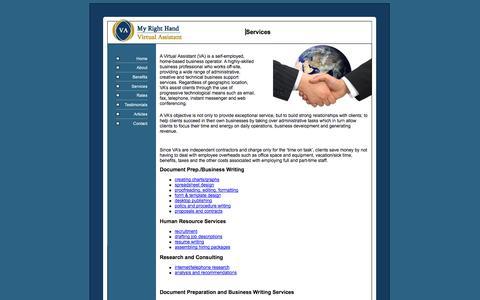 Screenshot of Services Page myrighthandva.com - Services - captured Oct. 26, 2014