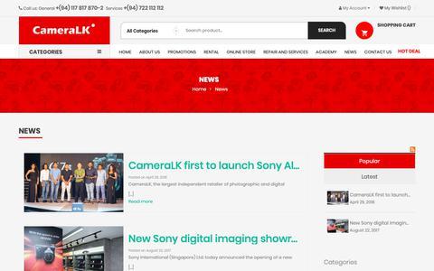Screenshot of Press Page cameralk.com - News - captured Nov. 4, 2018