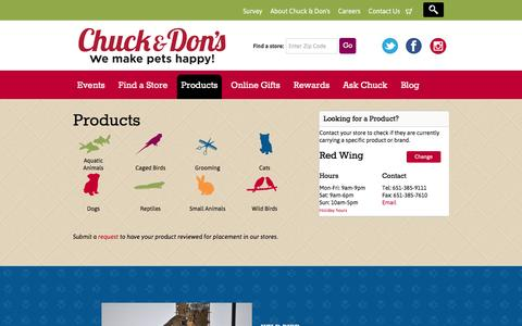 Screenshot of Products Page chuckanddons.com - Products Archive - Chuck & Don's - captured Oct. 15, 2016