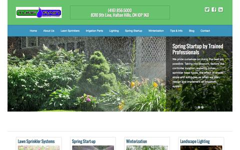 Screenshot of Home Page turfrain.com - Lawn Sprinklers & Irrigation Systems Across Mississauga, Milton & Oakville - captured Sept. 2, 2015