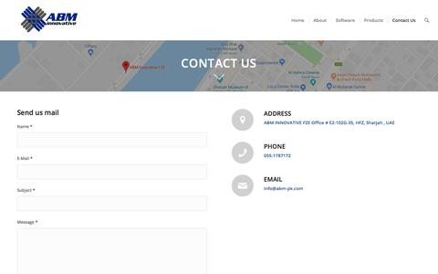 Screenshot of Contact Page abm-pk.com - Biometric Access Control System, Face Recognition Dubai - captured Nov. 26, 2019