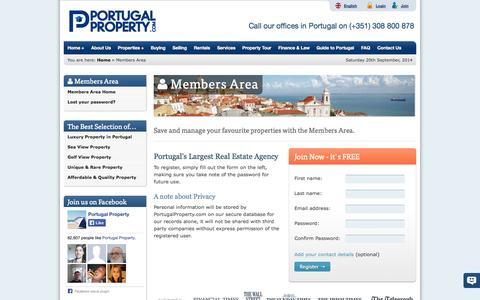 Screenshot of Signup Page portugalproperty.com - Members Area Registration - captured Sept. 22, 2014