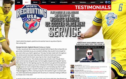 Screenshot of Testimonials Page sportsrecruitingusa.com - TESTIMONIALS - Sports Recruiting USA - captured Feb. 24, 2016
