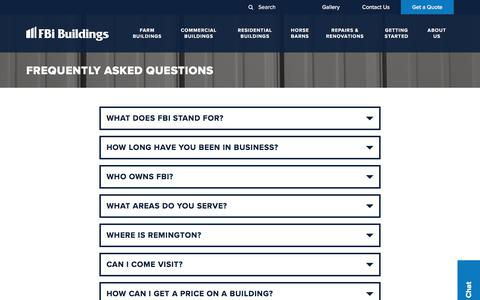 Screenshot of FAQ Page fbibuildings.com - What questions do you have? Check out this list of FAQs - captured Oct. 13, 2017
