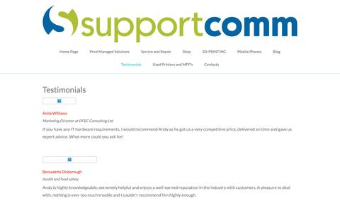 Screenshot of Testimonials Page supportcomm.co.uk - Supportcomm.co.uk - captured Oct. 19, 2018