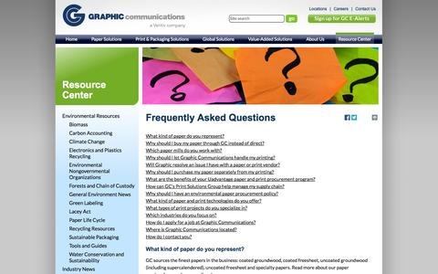 Screenshot of FAQ Page graphiccommunications.com - Paper FAQs & Printing FAQs Answered by the World's Largest Paper-Print Consultant - captured Sept. 30, 2014