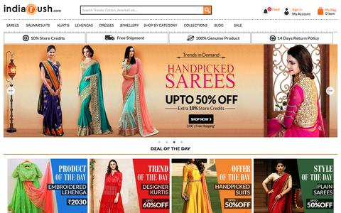 Screenshot of Home Page indiarush.com - Online Shopping Site For Women Apparel, Sarees, Suits, Lehengas, Jewellery, Western Wear - Indiarush - captured Nov. 17, 2017
