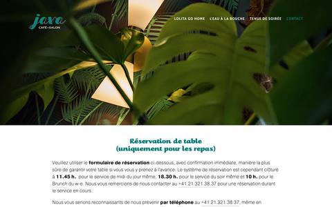 Screenshot of Contact Page lejava.ch - Réservation — JAVA CAFÉ-SALON - captured Oct. 23, 2018