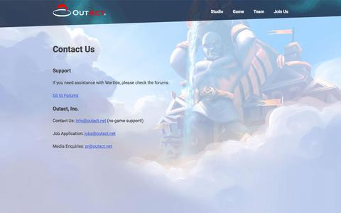 Screenshot of Contact Page outact.net - Outact, Inc. - captured Oct. 22, 2017