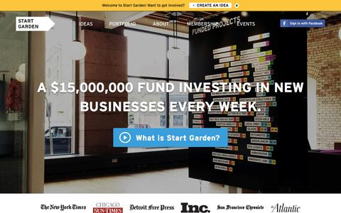 Screenshot of Home Page startgarden.com - Start Garden—A $15,000,000 startup fund and investment incubator. - captured Sept. 19, 2014
