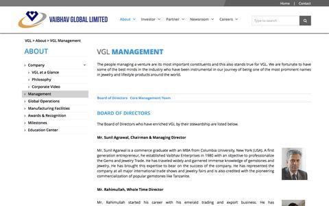 Screenshot of Team Page vaibhavglobal.com - VGL MANAGEMENT   VAIBHAV GLOBAL LIMITED - captured Sept. 11, 2016
