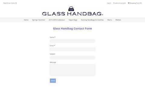 Screenshot of Contact Page glasshandbag.com - Glass Handbag Contact Form | Glass Handbag - captured July 21, 2015