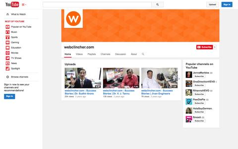 Screenshot of YouTube Page youtube.com - webclincher.com  - YouTube - captured Oct. 27, 2014