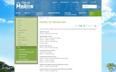 Screenshot of Hours Page cityofmarion.org - City of Marion, IA : Hours of Operation - captured Nov. 6, 2016