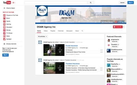 Screenshot of YouTube Page youtube.com - DG&M Agency Inc  - YouTube - captured Oct. 29, 2014