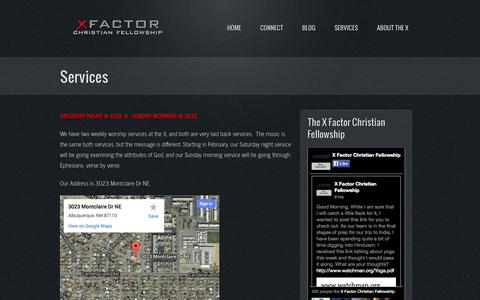 Screenshot of Services Page realrelevant.com - Services   X Factor Christian Fellowship - captured Oct. 7, 2014