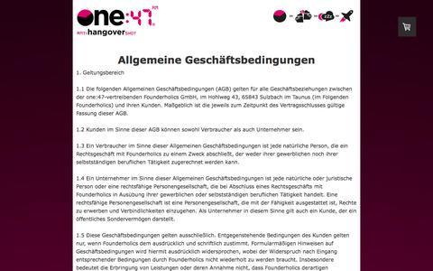 Screenshot of Terms Page one47.de - Allgemeine Geschäftsbedingungen - one:47 - Deutschlands erster Anti-Hangover-Shot - captured Jan. 12, 2016