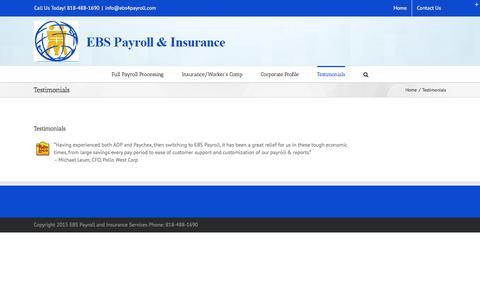 Screenshot of Testimonials Page ebs4payroll.com - Testimonials « EBS Payroll & Insurance Services - captured Jan. 24, 2016