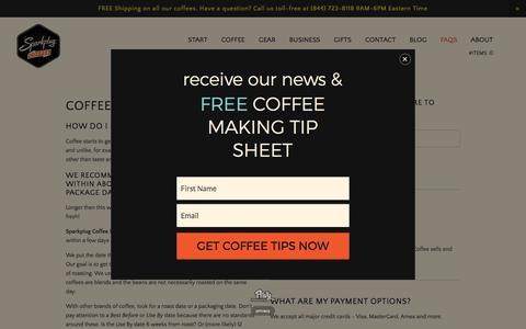 Screenshot of FAQ Page sparkplugcoffee.com - FAQs — Sparkplug coffee - captured June 9, 2017