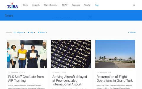 Screenshot of Press Page tciairports.com - News – Airports Authority - captured Oct. 18, 2018