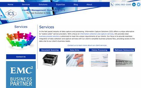Screenshot of Services Page infocapsol.com - Document Scanning & Data Entry Services | ICS - captured Nov. 26, 2016