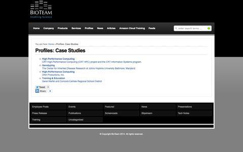 Screenshot of Case Studies Page bioteam.net - Profiles: Case Studies  : BioTeam - captured Oct. 26, 2014