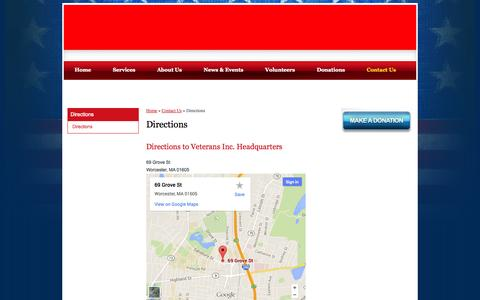 Screenshot of Maps & Directions Page veteransinc.org - Directions | Veterans Organizations - captured Oct. 26, 2014