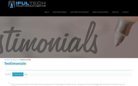 Screenshot of Testimonials Page ifultech.com - Testimonials - ifultech - captured Aug. 7, 2016