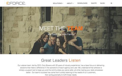 Screenshot of Team Page eforcesoftware.com - Meet the Team | eFORCE Software - captured July 24, 2018