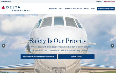 Screenshot of Home Page deltaprivatejets.com - Private Jet Charters, Member Programs & More | Delta Private Jets - captured Jan. 20, 2018
