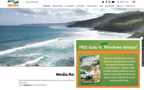 Screenshot of Press Page apollocamper.com - Apollo Motorhomes Press Current Promos - Motorhome rental Australia - captured Jan. 14, 2019
