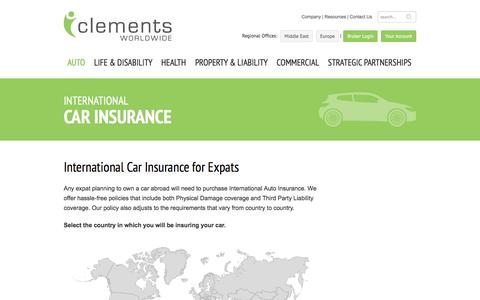 Screenshot of Maps & Directions Page clements.com - International Car Insurance Overview | Clements Worldwide - captured Feb. 2, 2017