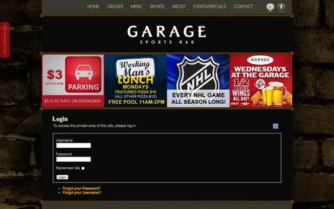 Screenshot of Login Page the-garage.ca - Login - The Garage Sports Bar - Calgary Sports, Billiards, and Great Pub Food - captured Oct. 2, 2014