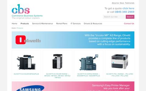 Screenshot of Products Page commercebusinesssystems.co.uk - Products : Commerce Business Systems - captured Nov. 10, 2016