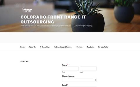 Screenshot of Contact Page technologyresponse.com - Contact – Colorado Front Range IT Outsourcing - captured Nov. 5, 2017