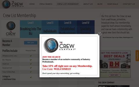 Screenshot of Pricing Page crewcompany.com - Crew List Membership | The Crew Company - captured Feb. 18, 2016