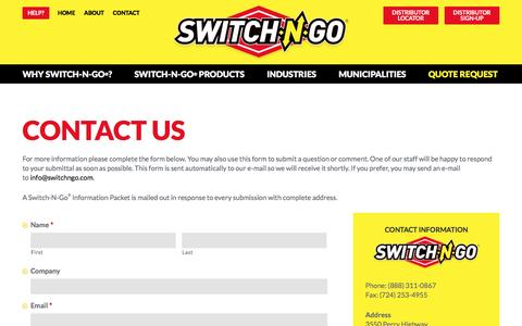 Screenshot of Contact Page switchngo.com - Contact – Switch-N-Go® Interchangeable Truck Body System - captured Dec. 8, 2016