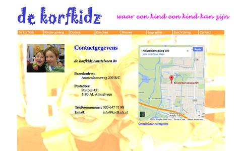 Screenshot of Contact Page korfkidz.nl - Korfkidz - captured Oct. 1, 2014