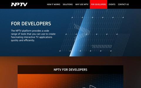 Screenshot of Developers Page nptv.com - NPTV. For developers - captured Oct. 1, 2014
