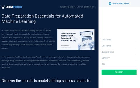 Screenshot of Landing Page datarobot.com - Data Preparation Essentials for Automated Machine Learning - captured Sept. 19, 2018