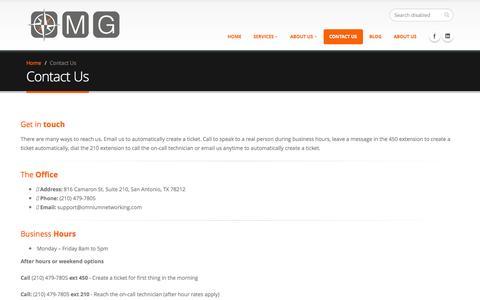 Screenshot of Contact Page omniuminc.com - Contact Us OMG (Omnium Management Group) - captured Oct. 6, 2014