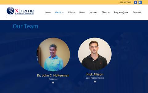 Screenshot of Team Page xedi.us - Our Team – Xtreme Electronic Design - captured Oct. 19, 2018