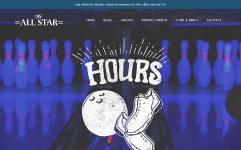 Screenshot of Hours Page theallstar.com - Hours - The All Star Bowling - captured Nov. 9, 2017