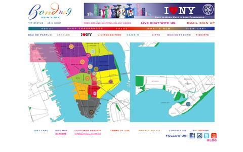 Screenshot of Maps & Directions Page bondno9.com - New York City Neighborhood Fragrance Map – Bond No. 9 - captured Sept. 19, 2014