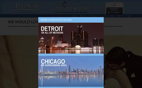 Screenshot of Contact Page mikestaff.com - Contact Mike Staff Productions in Detroit and all of Michigan for Wedding Services - captured Feb. 27, 2016